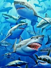 New Unused Great White Shark Beach Towel 100% Cotton Shark Week megalodon
