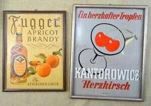2 Schilder Fugger Apricot Brandy + Kantorowicz Herzkirsch Spirituosen Werbung
