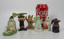 Set 6 Halloween Ceramic Village Figurines WITCH GHOST MUMMY CAT TREE SKELETON