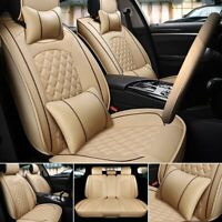 PU Leather 5-Seats Car Front Rear Full Set Protector Cushion SUV Truck Universal