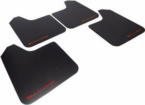 Rally Armor Basic Universal Mud Flaps Set of 4 No HW, BLACK w/ RED  MF12-BAS-RD