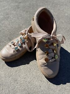Mimco Ladies Leather Sneakers Ribbon Lace up Size 38 0r 7 Aust .Beige And Gold