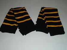 Sport Tek Adult Unisex Striped Arm Socks 2 Pair Black & Yellow Size L/XL New