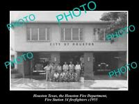 OLD LARGE HISTORIC PHOTO OF HOUSTON TEXAS, THE FIRE DEPARTMENT STATION No34 1955