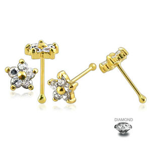14K Solid Yellow Gold 20G x 7.5mm Nose Bone with 3mm Heart