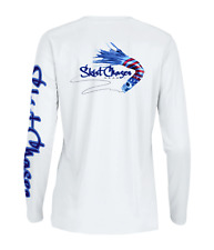 Women's Long Sleeve White USA UPF 50+ Microfiber Perfromance Fishing Shirt