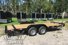 New 2020 7 x 18 7K Flatbed W/ Dovetail Wood Deck Open Car Hauler Utility Trailer