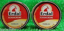 (3€/100ml) 2x Erdal ORIGINAL SCHUHCREME FARBLOS 75ml Dose Schuhpflegemittel