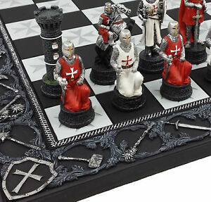 """Medieval Times Crusades Red & White Armored Maltese Knights Chess Set 17"""" Board"""