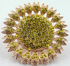 Large Sun Flower Stretch Ring Crystal Rhinestone Fashion Bling Jewelry Gold RF03