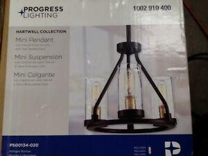 Progress Lighting Hartwell 3-Light Antique Bronze Mini-Pendant with Clear Seede