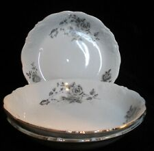 WAWEL 4071 BLACK & GRAY ROSES LEAVES EMBOSSED SCALLOPED RIM 3 COUPE SOUP BOWL