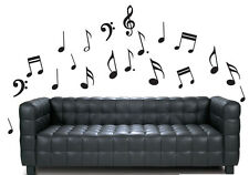 Black Music Note Pack of 20 - Wall Vinyl Stickers Treble Clef Transfers Decals