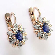 14K ROSE GOLD DIAMOND AND SAPPHIRE RUSSIAN EARRINGS Item #: E660