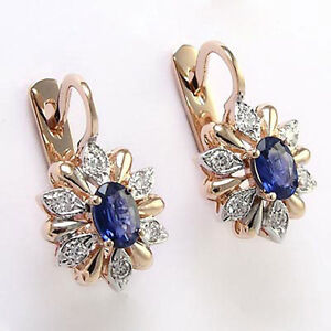 14K ROSE GOLD DIAMOND AND SAPPHIRE RUSSIAN STYLE EARRINGS E660.