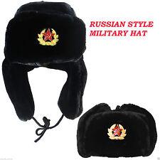 MENS LADIES RUSSIAN STYLE MILITARY ARMY TRAPPER EAR FLAP WINTER USHANKA HAT CAP
