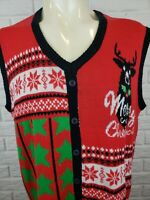 Ugly Sweater Christmas Pull Over Vest Mens Size XX Large Red Reindeer Party