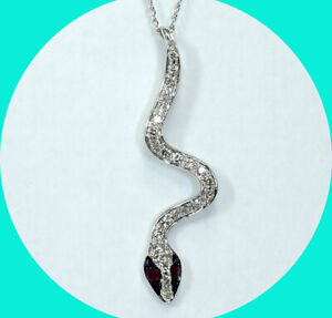 .25CT diamond ruby enamel snake serpent pendant necklace 14K WG