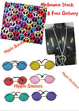 Hippie Set Hippie Bandana, Glasses and Necklace 60s 70s 80s Party Accessories