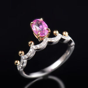 Natural Oval Pink Sapphire Diamond Crown Women Engagement Ring Solid 14K Gold