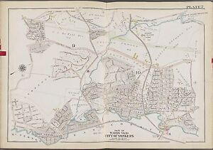 1911 WESTCHESTER COUNTY YONKERS NEW YORK BRONXVILLE & TUCKAHOE STATION ATLAS MAP