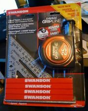 "Swanson 7"" Speed Square, 25' Savage Gripline Tape Measure, 4 Carpenter Pencils"