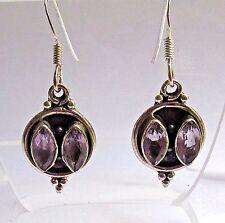 Genuine Lavender Amethyst Earrings  .925 Sterling Silver  2 Beautiful Stones