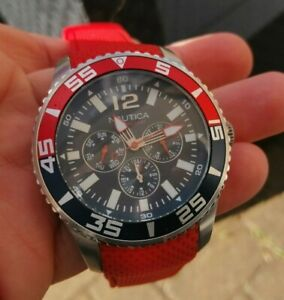 Nautica mens Day Date Flag watch Red strap VGC NT2