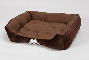 Long Rich Reversible Rectangle Pet Bed Dog Bed with Dog Paw Embroidery,Me... New