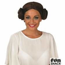 Cosmic Princess Wig Star Wars Leia Space Glamour Women's Fancy Dress Costume