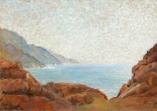 MARCADIER Französische Zeichnung Bild Pastell Korsische Landschaft PORTO Korsica