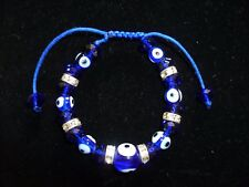 Ladies Girl's Adj Friendship Bracelet Bright Blue Stones alternate Evil Eye BN