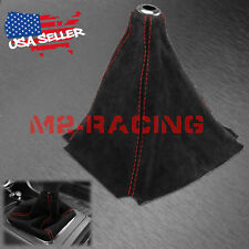 Genuine Real Leather Alcantara Shift Knob Boot Cover Black With Red Stitches