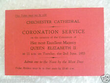 1953 Ticket for Coronation of Queen Elizabeth II- Chichester Cathedral.