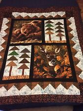 """Handmade Deer And Bear In The Woods Hand Quilted Quilt 57""""x64"""""""