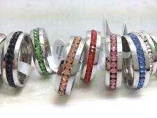 wholesale 50 Silver mix rheinstone Stainless steel wedding Rings Jewelry lots