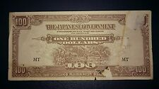 #2 Malaya Japanese Occupation JIM One Hundred Dollars $100 banknote Prefix MT F