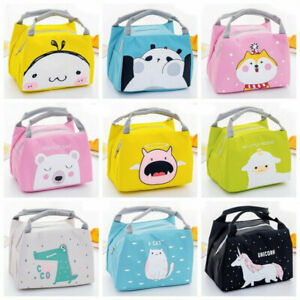 Kids Boy Girl Cartoon Insulated Lunch Cooler Bag Portable Carry Tote Food Box