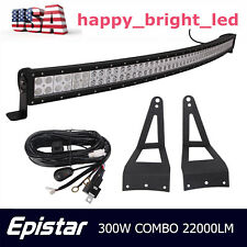 52inch 300W Curved LED Light Bar+Mounting Bracket 99-15 Ford F250 F350+Wire Kit