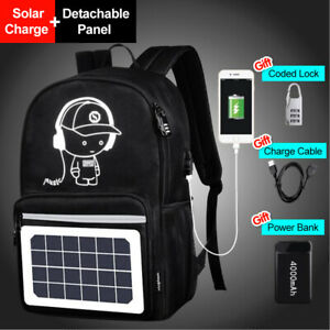 Solar Powered Panel Backpack & Anti-theft For School Travel Laptop Bag for Boys