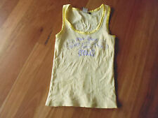 LOVELY CUTE YELLOW NEW YORK LOGO COTTON SINGLET TOP BY EVERLAST SIZE XS AUS 8/10