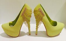 Lemon Yellow Chain Draped Platform Pump Heels Womens Shoes Size 7.5