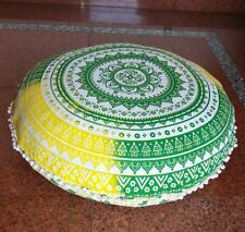 Yellow Green Round Floor Decor Pillow Cover Meditation Cushion Cover Art