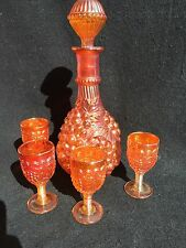 Vintage Wine Decanter Imperial Grape Marigold Carnival Glass 4 Glasses