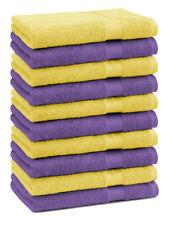 Betz 10 Toallas de cara 30x30cm PREMIUM 100% algodón de color morado y amarillo