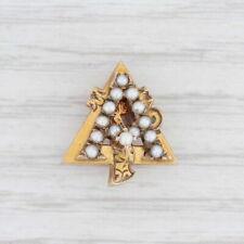 Alpha Gamma Delta Pin 14k Yellow Gold Pearls Vintage Greek Sorority Badge