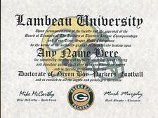 GREEN BAY PACKERS NFL FAN  ~ CERTIFICATE ~ DIPLOMA ~MAN CAVE ~ OFFICE FUN GIFT