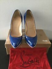 Authentic Christian Louboutin Platform High Heal, Blue Patent Leather Size 39