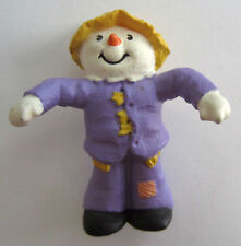 Hallmark Merry Miniatures 1990 Scarecrow In Purple With Straw Hat