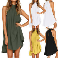 Women's Wrinkled Beach Vest Tops Vest Sleeveless Mini Dress Loose Plus Size